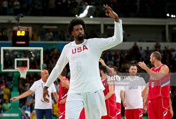 DeAndre Jordan of United States acknowledges the crowd after the United States defeated Serbia in the Men's Preliminary Round Group A match on Day 7...
