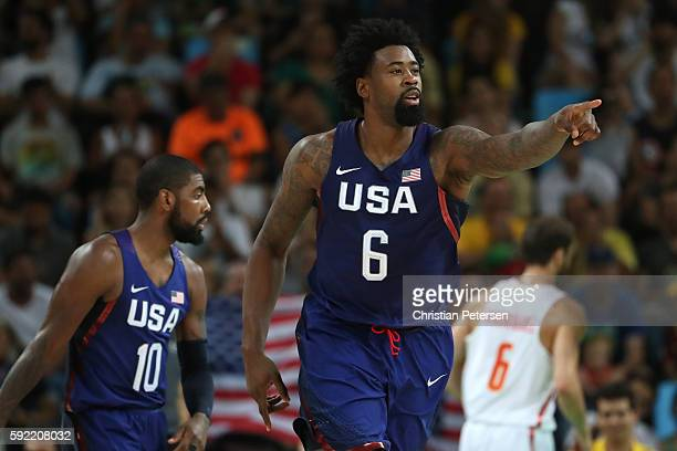 DeAndre Jordan of United States celebrates a play against Spain during the Men's Semifinal match on Day 14 of the Rio 2016 Olympic Games at Carioca...