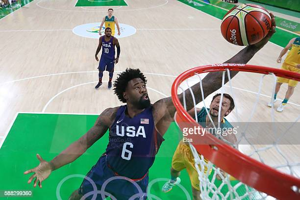 DeAndre Jordan of United States shots during a Preliminary Round Basketball game between Australia and the United States on Day 5 of the Rio 2016...