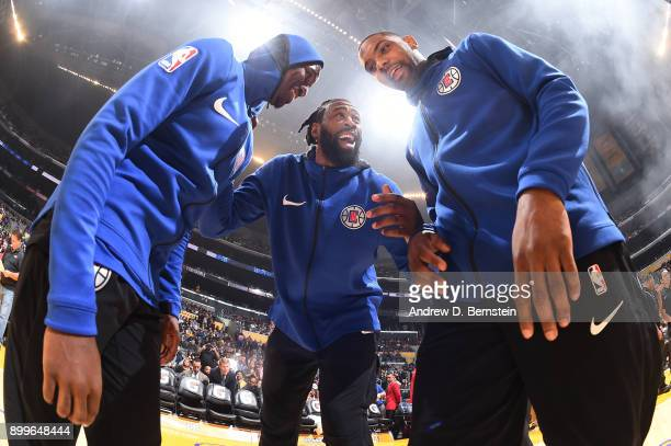 DeAndre Jordan Sindarius Thornwell and Jawun Evans of the LA Clippers before the game against the Los Angeles Lakers on December 29 2017 at STAPLES...