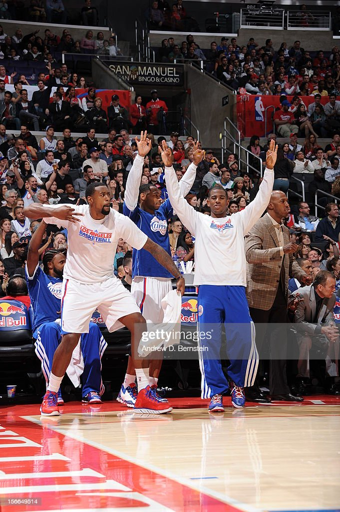 DeAndre Jordan #6, Willie Green #34, and Chris Paul #3 of the Los Angeles Clippers celebrate from the bench in a game against the Chicago Bulls at Staples Center on November 17, 2012 in Los Angeles, California.