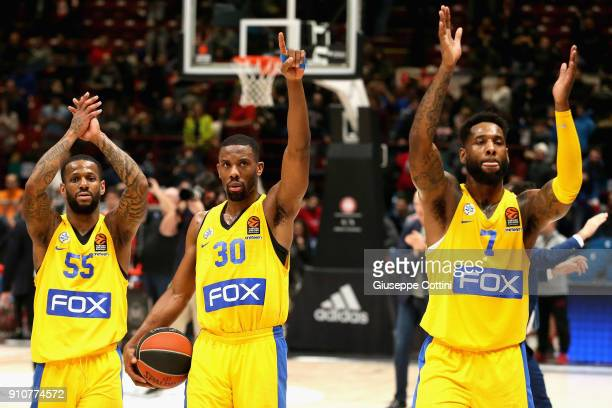 Deandre Kane #7 Norris Cole #30 and Pierre Jackson #55 of Maccabi Fox Tel Aviv celebrates at the end of 2017/2018 Turkish Airlines EuroLeague Regular...