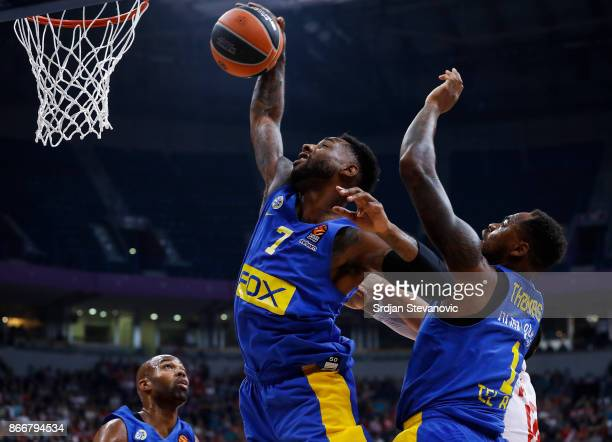 Deandre Kane and Deshaun Thomas of Maccabi jump for the ball during the 2017/2018 Turkish Airlines EuroLeague Regular Season game between Crvena...