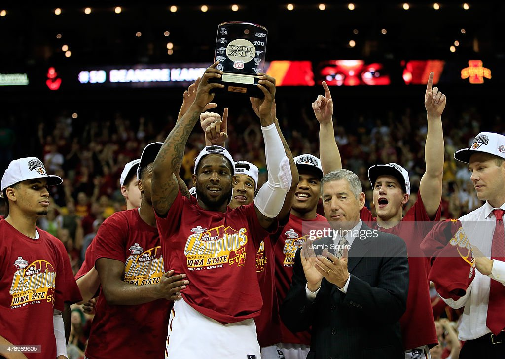DeAndre Kane #50 of the Iowa State Cyclones and teammates celebrate with the trophy after winning the 2014 Big 12 Men's Championship over the Baylor Bears at the Sprint Center on March 15, 2014 in Kansas City, Missouri.
