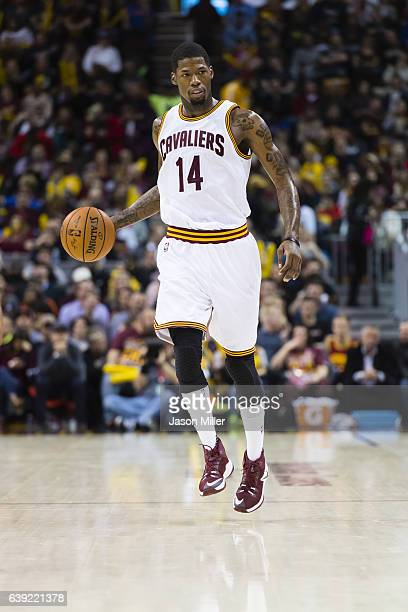 DeAndre Liggins of the Cleveland Cavaliers drives down court during the second half against the New Orleans Pelicans at Quicken Loans Arena on...