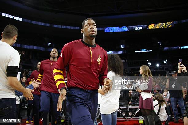 DeAndre Liggins of the Cleveland Cavaliers enters the arena before a game against the Detroit Pistons on December 26 2016 at The Palace of Auburn...