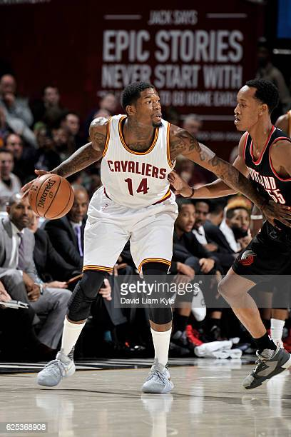 DeAndre Liggins of the Cleveland Cavaliers handles the ball against the Portland Trail Blazers on November 23 2016 at The Quicken Loans Arena in...
