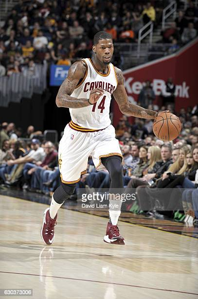 DeAndre Liggins of the Cleveland Cavaliers handles the ball against the Milwaukee Bucks on December 21 2016 at The Quicken Loans Arena in Cleveland...