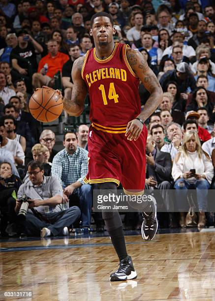 DeAndre Liggins of the Cleveland Cavaliers handles the ball against the Dallas Mavericks on January 30 2017 at the American Airlines Center in Dallas...