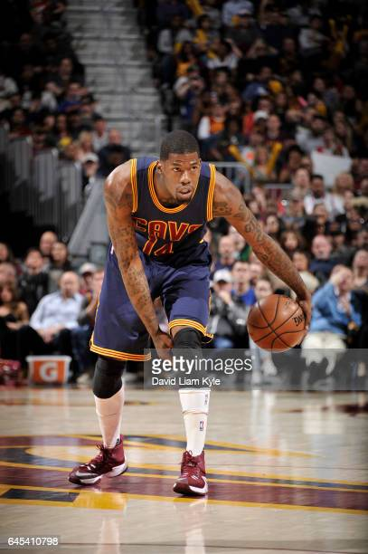 DeAndre Liggins of the Cleveland Cavaliers handles the ball against the Chicago Bulls during the game on February 25 2017 at Quicken Loans Arena in...