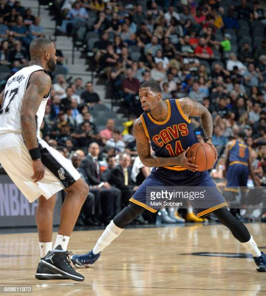 DeAndre Liggins of the Cleveland Cavaliers handles the ball against the San Antonio Spurs during the game on March 27 2017 at the ATT Center in San...