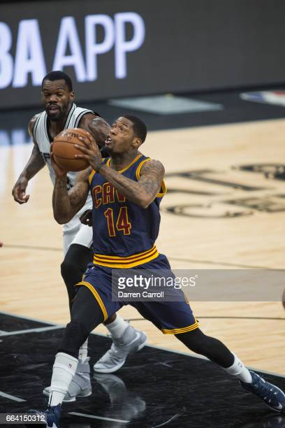 DeAndre Liggins of the Cleveland Cavaliers handles the ball against the San Antonio Spurs on March 27 2017 at the ATT Center in San Antonio Texas...