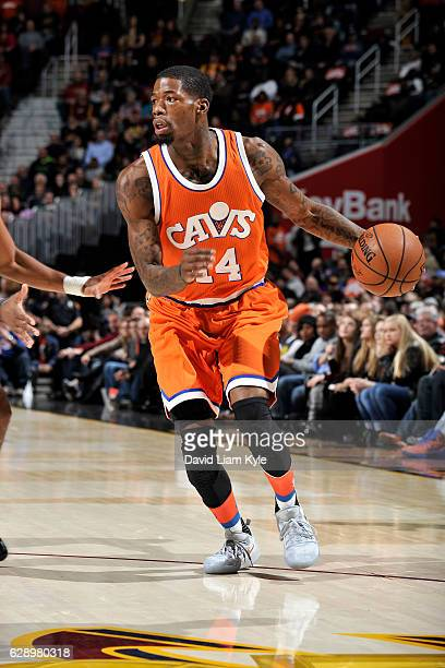 DeAndre Liggins of the Cleveland Cavaliers handles the ball during the game against the Charlotte Hornets on December 10 2016 at The Quicken Loans...