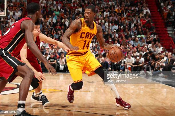 DeAndre Liggins of the Cleveland Cavaliers handles the ball during the game against the Miami Heat on March 4 2017 at AmericanAirlines Arena in Miami...