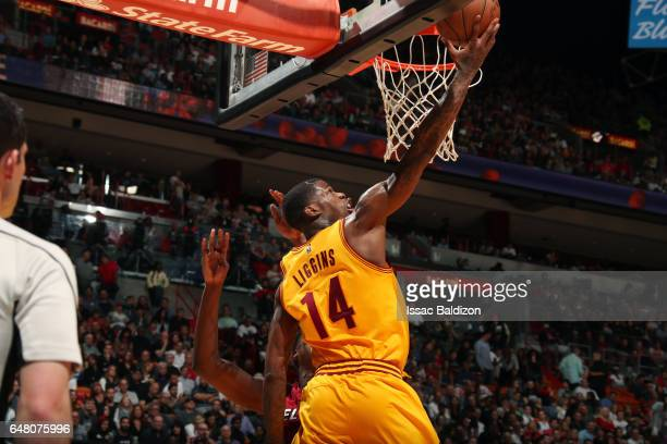 DeAndre Liggins of the Cleveland Cavaliers shoots a lay up during the game against the Miami Heat on March 4 2017 at AmericanAirlines Arena in Miami...