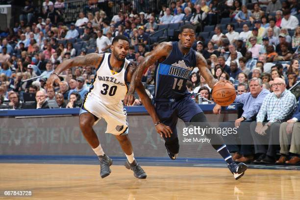 DeAndre Liggins of the Dallas Mavericks drives to the basket against the Memphis Grizzlies on April 12 2017 at FedEx Forum in Memphis Tennessee NOTE...