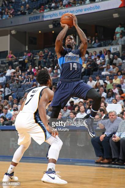 DeAndre Liggins of the Dallas Mavericks shoots the ball against the Memphis Grizzlies on April 12 2017 at FedEx Forum in Memphis Tennessee NOTE TO...