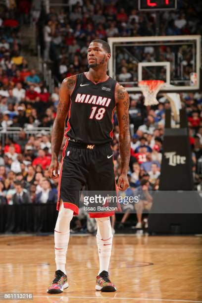 DeAndre Liggins of the Miami Heat looks on during the preseason game against the Philadelphia 76ers on October 13 2017 at Sprint Center in Kansas...