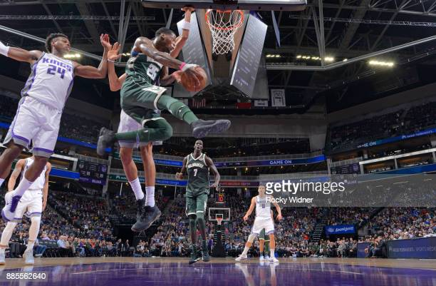 Deandre Liggins of the Milwaukee Bucks goes up with the ball against the Sacramento Kings on November 28 2017 at Golden 1 Center in Sacramento...