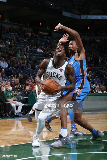DeAndre Liggins of the Milwaukee Bucks handles the ball against the Oklahoma City Thunder on October 31 2017 at the BMO Harris Bradley Center in...
