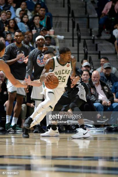 DeAndre Liggins of the Milwaukee Bucks handles the ball against the San Antonio Spurs on November 10 2017 at the ATT Center in San Antonio Texas NOTE...