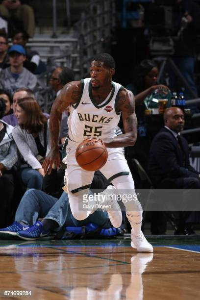 DeAndre Liggins of the Milwaukee Bucks handles the ball against the Detroit Pistons on November 15 2017 at the BMO Harris Bradley Center in Milwaukee...