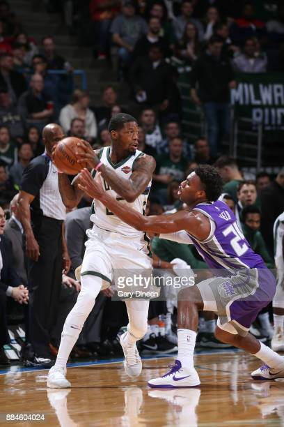 DeAndre Liggins of the Milwaukee Bucks handles the ball against the Sacramento Kings on December 2 2017 at the BMO Harris Bradley Center in Milwaukee...