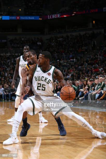 DeAndre Liggins of the Milwaukee Bucks handles the ball against the Utah Jazz on December 9 2017 at the BMO Harris Bradley Center in Milwaukee...