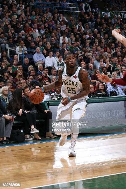 DeAndre Liggins of the Milwaukee Bucks handles the ball against the Cleveland Cavaliers on December 19 2017 at the BMO Harris Bradley Center in...