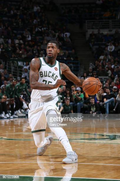 DeAndre Liggins of the Milwaukee Bucks handles the ball against the Indiana Pacers on January 3 2018 at the BMO Harris Bradley Center in Milwaukee...