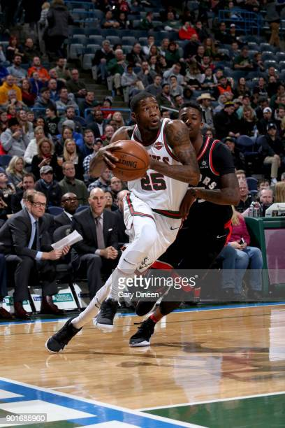 Deandre Liggins of the Milwaukee Bucks handles the ball against the Toronto Raptors on January 5 2018 at the BMO Harris Bradley Center in Milwaukee...