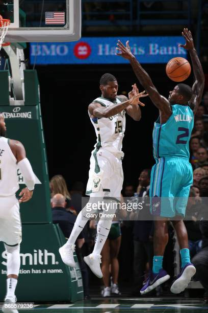 DeAndre Liggins of the Milwaukee Bucks passes the ball against the Charlotte Hornets on October 23 2017 at the BMO Harris Bradley Center in Milwaukee...