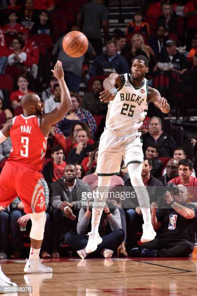 Deandre Liggins of the Milwaukee Bucks passes the ball against the Houston Rockets on December 16 2017 at the Toyota Center in Houston Texas NOTE TO...