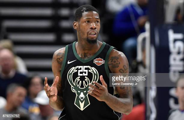 DeAndre Liggins of the Milwaukee Bucks reacts to a foul against the Utah Jazz in the second half of the 121108 win by the Jazz at Vivint Smart Home...