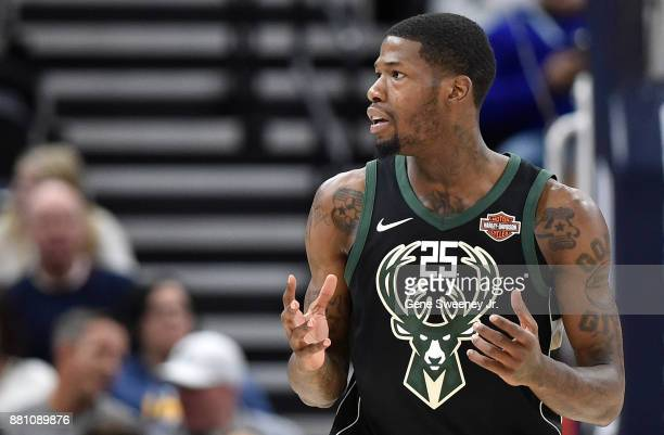 DeAndre Liggins of the Milwaukee Bucks reacts to a foul against the Utah Jazz during their game at Vivint Smart Home Arena on November 25 2017 in...