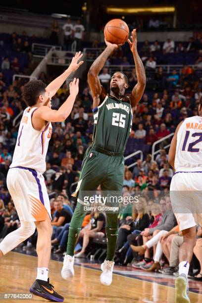 DeAndre Liggins of the Milwaukee Bucks shoots the ball against the Phoenix Suns on November 22 2017 at Talking Stick Resort Arena in Phoenix Arizona...