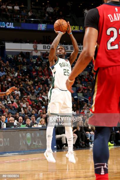 Deandre Liggins of the Milwaukee Bucks shoots the ball during the game against the New Orleans Pelicans on December 13 2017 at Smoothie King Center...