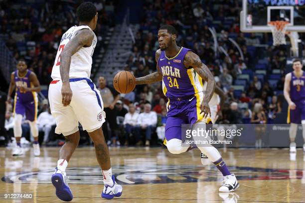 DeAndre Liggins of the New Orleans Pelicans drives with the ball druing the first half against the LA Clippers at the Smoothie King Center on January...
