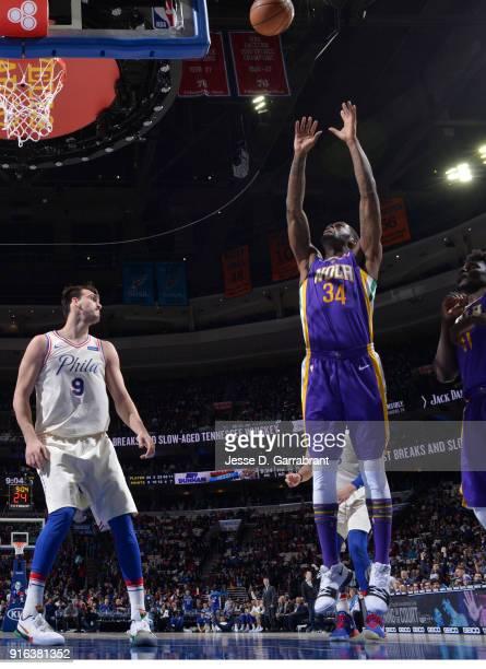 DeAndre Liggins of the New Orleans Pelicans grabs the rebound against the Philadelphia 76ers at Wells Fargo Center on February 9 2018 in Philadelphia...
