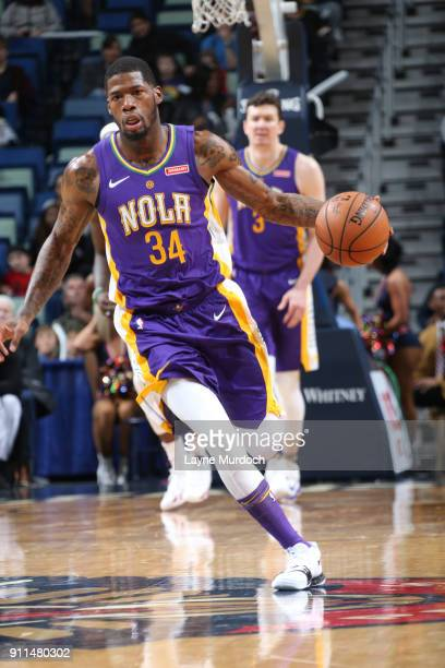 DeAndre Liggins of the New Orleans Pelicans handles the ball against the LA Clippers on January 28 2018 at Smoothie King Center in New Orleans...