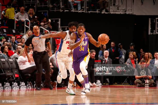 DeAndre Liggins of the New Orleans Pelicans handles the ball against the Detroit Pistons on February 12 2018 at Little Caesars Arena in Detroit...