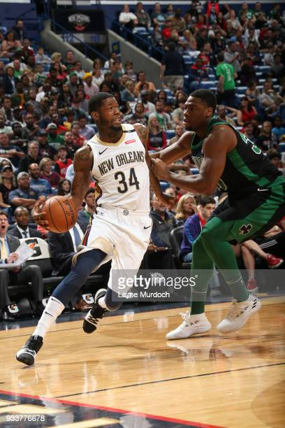 DeAndre Liggins of the New Orleans Pelicans handles the ball against the Boston Celtics on March 18 2018 at Smoothie King Center in New Orleans...