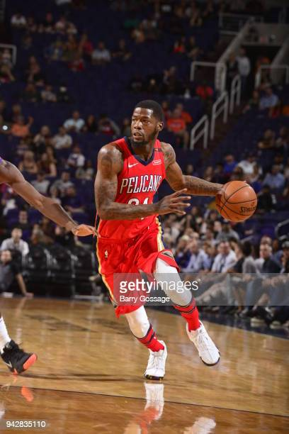 DeAndre Liggins of the New Orleans Pelicans handles the ball against the Phoenix Suns on April 6 2018 at Talking Stick Resort Arena in Phoenix...