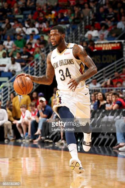 DeAndre Liggins of the New Orleans Pelicans handles the ball during the game against the Houston Rockets on March 17 2018 at the Smoothie King Center...