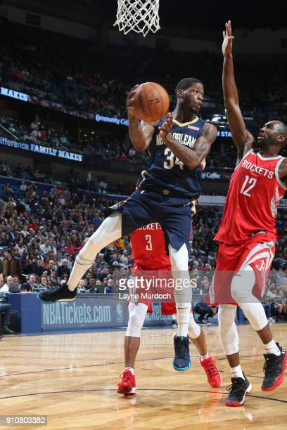 DeAndre Liggins of the New Orleans Pelicans passes the ball against the Houston Rockets on January 26 2018 at Smoothie King Center in New Orleans...