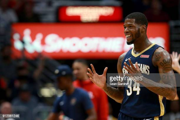 DeAndre Liggins of the New Orleans Pelicans reacts to a call during a NBA game against the Houston Rockets at the Smoothie King Center on January 26...