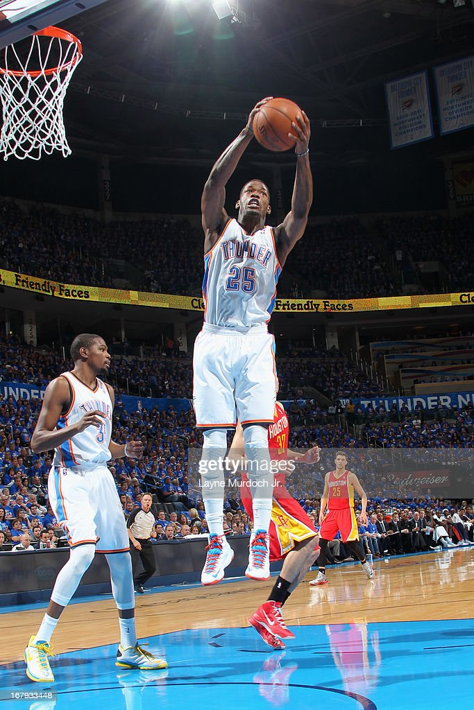 DeAndre Liggins #25 of the Oklahoma City Thunder grabs a rebound against the Houston Rockets in Game Five of the Western Conference Quarterfinals during the 2013 NBA Playoffs on May 1, 2013 at the Chesapeake Energy Arena in Oklahoma City, Oklahoma.
