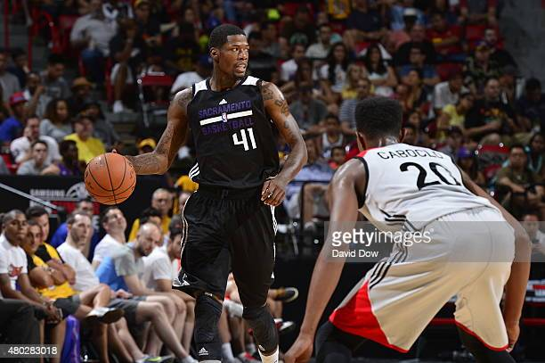 DeAndre Liggins of the Sacramento Kings handles the ball against Bruno Caboclo of the Toronto Raptors on July 10 2015 at Thomas and Mack Center in...