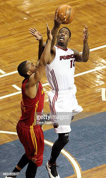 DeAndre Liggins of the Sioux Falls Skyforce drives to the basket against Ron Howard of the Fort Wayne Mad Ants in game one semifinal NBA DLeague game...