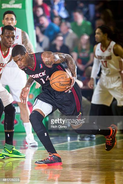 DeAndre Liggins of the Sioux Falls Skyforce pushes the ball up court against the Maine Red Claws on March 30 2014 at the Portland Expo in Portland...
